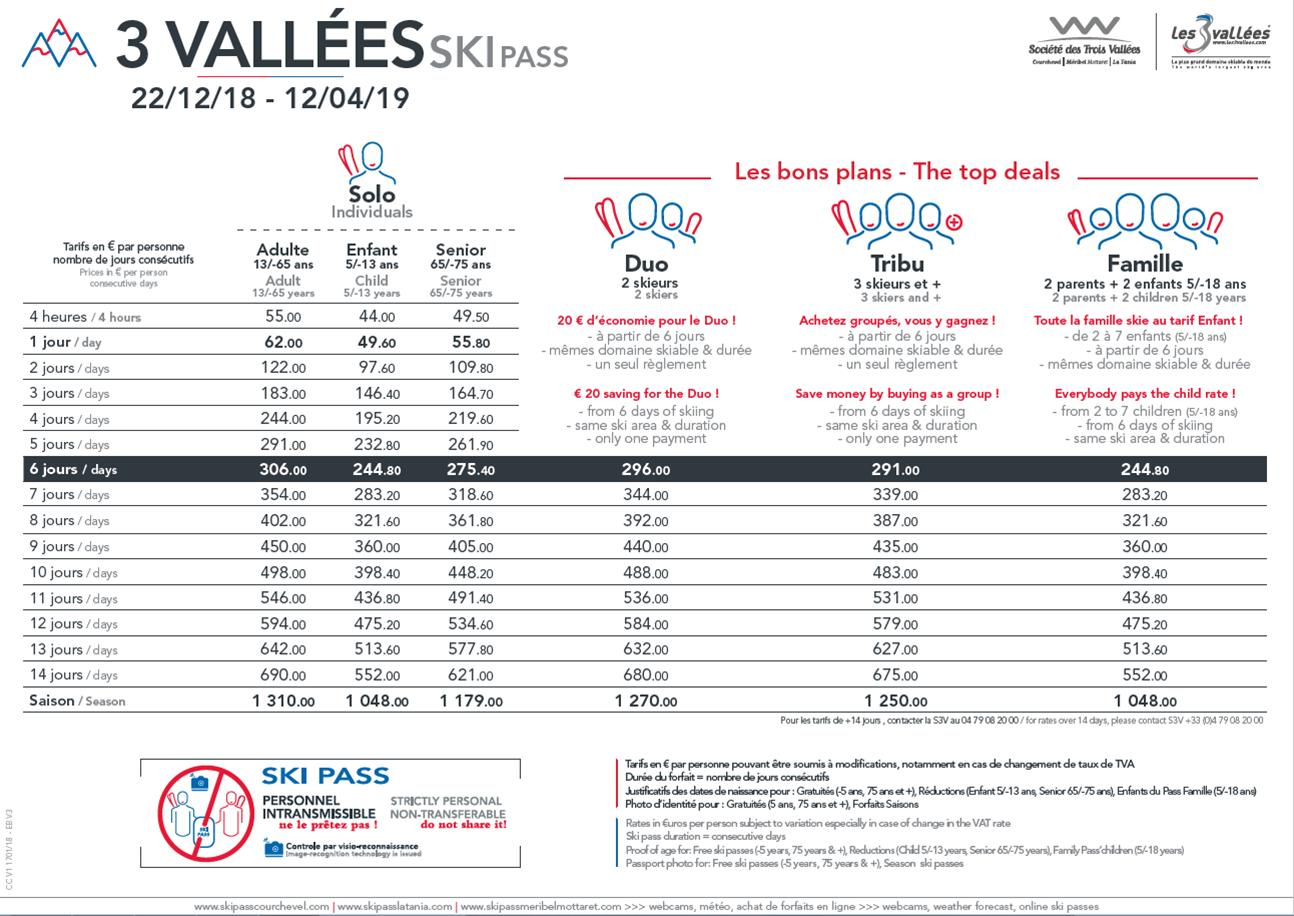 3 Vallees lift pass prices