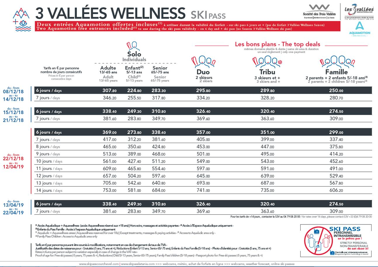 3 vallees Wellness pass prices